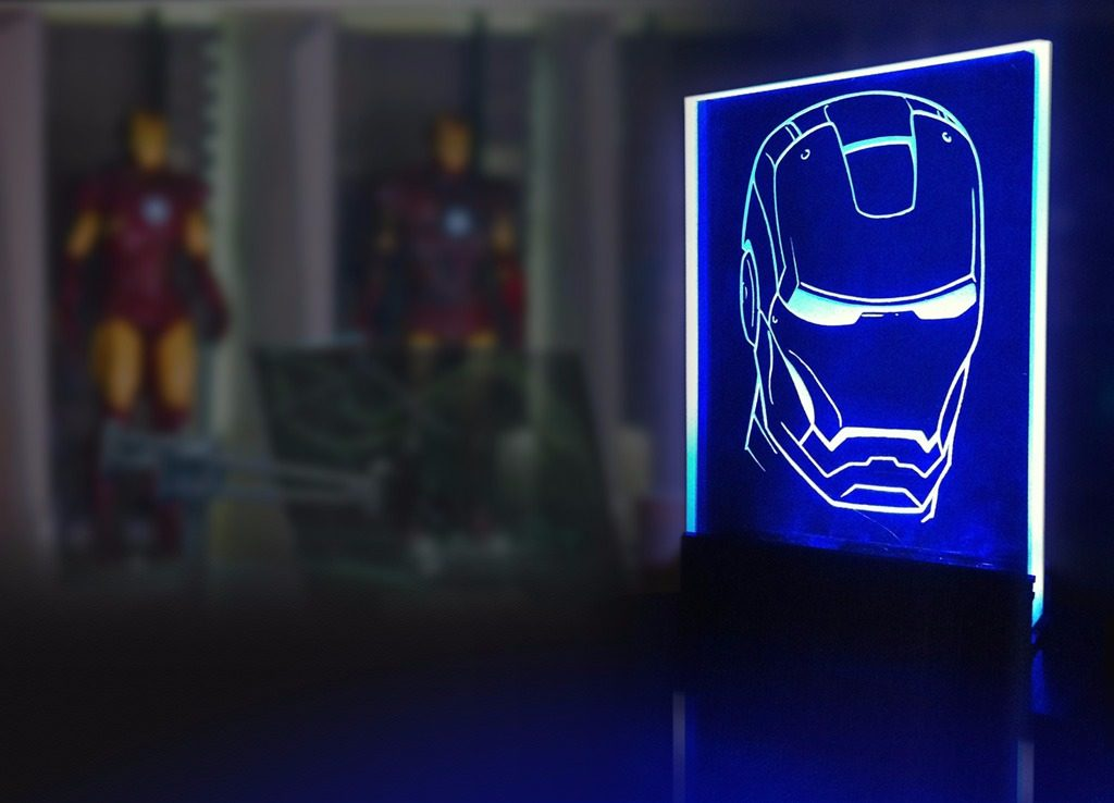marvel heroes-decor glass lamp-iron man-iron-man