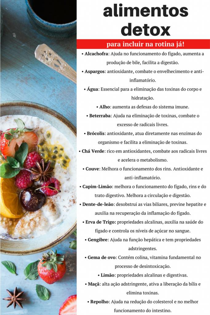 17 alimentos detox - Cardápio detox